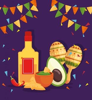Tequila de garrafa e elementos tradicionais de cinco de maio