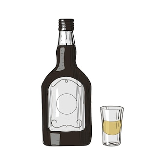 Tequila e copo em estilo vintage isolado no branco