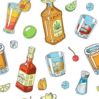 Tequila e uísque bebem líquido sem costura padrão