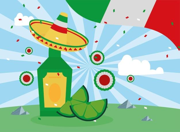 Tequila mexicana e bandeira