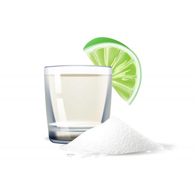 Tequila realista de vetor tiro limão sal méxico