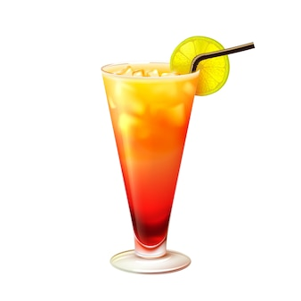 Tequila sunrise cocktail realistic