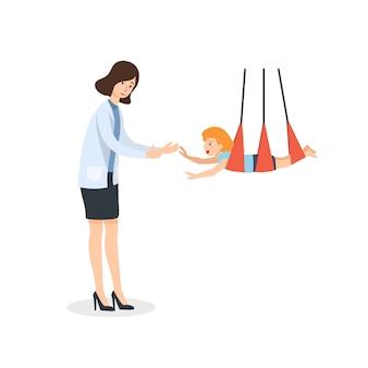 Terapeuta brincar com as crianças para sensorial estimular o desenvolvimento infantil.