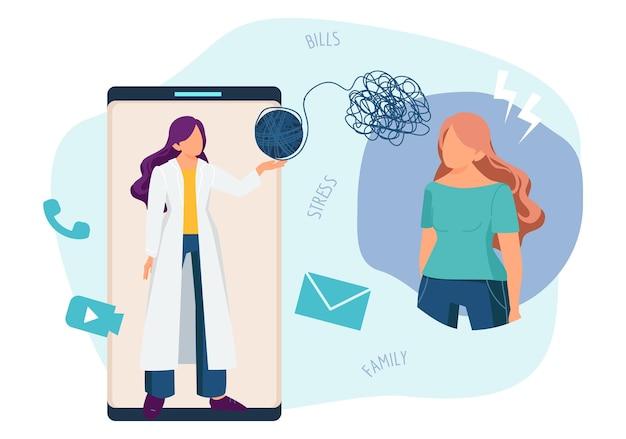 Terapeuta online. psicoterapia, consulta de psicologia por telefone. ilustração do vetor de telemedicina, médico e paciente com problemas mentais. consulta com terapeuta psicoterapia, terapia psicológica