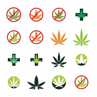 Terapia com cannabis médica e cuidados com a saúde logo design
