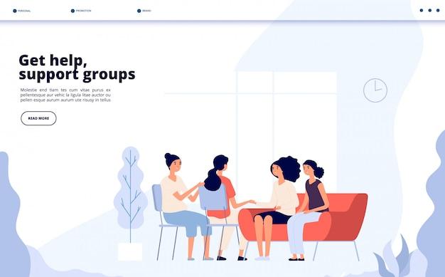 Terapia de mulher. mulheres consultando psicólogo, mulheres deprimidas, aconselhamento psiquiatra em grupo