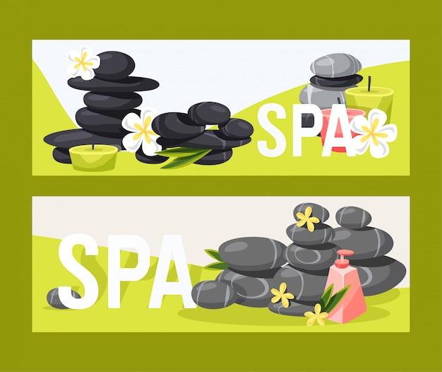 Terapia de pedra spa zen pedra vector para beleza, saúde e relaxamento