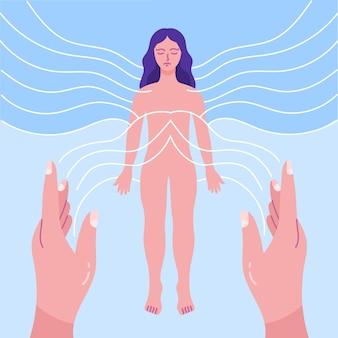 Terapia de reiki com energia feminina