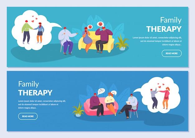 Terapia familiar, psicoterapia, casal marido e mulher conversando com psicólogo, conjunto de bandeiras de ilustrações.