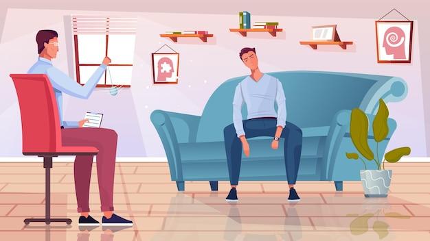 Terapia psicológica com ilustração plana de símbolos de hipnose