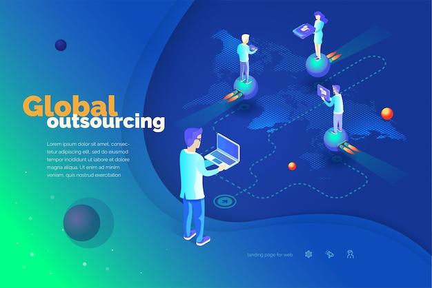 Terceirização global um homem com um laptop gerencia a terceirização mapa mundial
