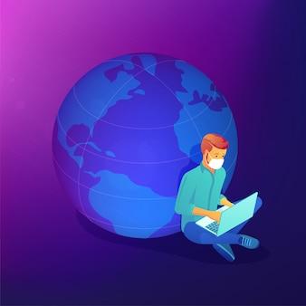 Terceirize o trabalho durante o conceito abstrato de pandemia global covid-19