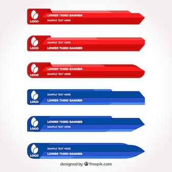 Terceiros inferiores azul e vermelho em design plano