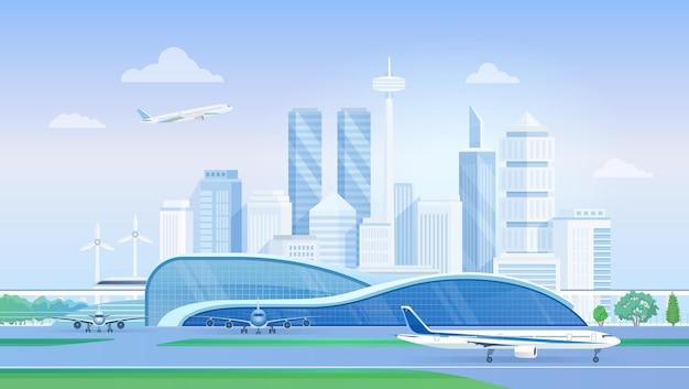 Terminal de aeroporto com o horizonte da cidade moderna de avião com aeronaves nos arranha-céus da pista