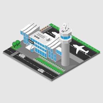 Terminal de aeroporto com torre de controle isométrico