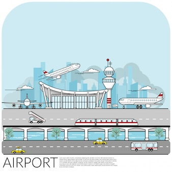 Terminal de aeroporto ocupado com avião