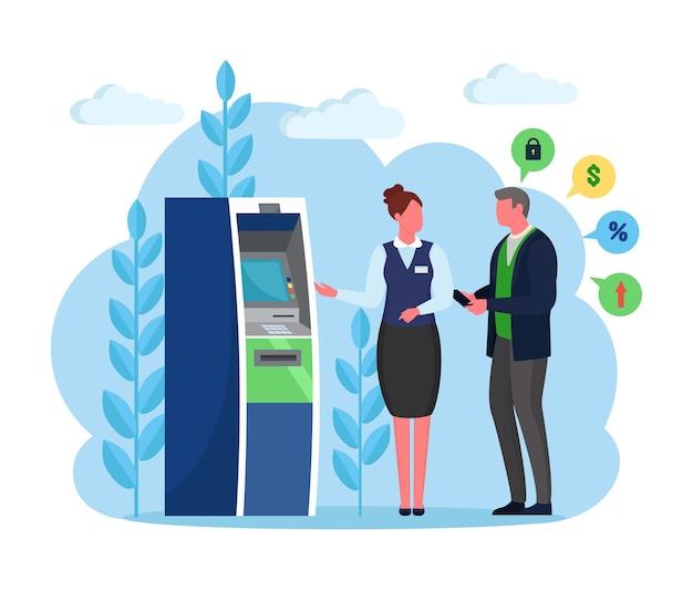 Terminal de banco atm. homem cliente e bancário em pé perto da máquina de leitura de cartão de crédito e retirar dinheiro cliente com gerente em segundo plano