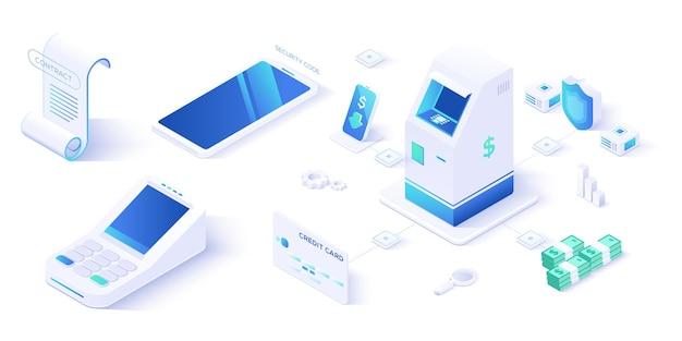 Terminal de caixa on-line isométrico, caixa de compra, ponto de venda com compradores e cliente atm