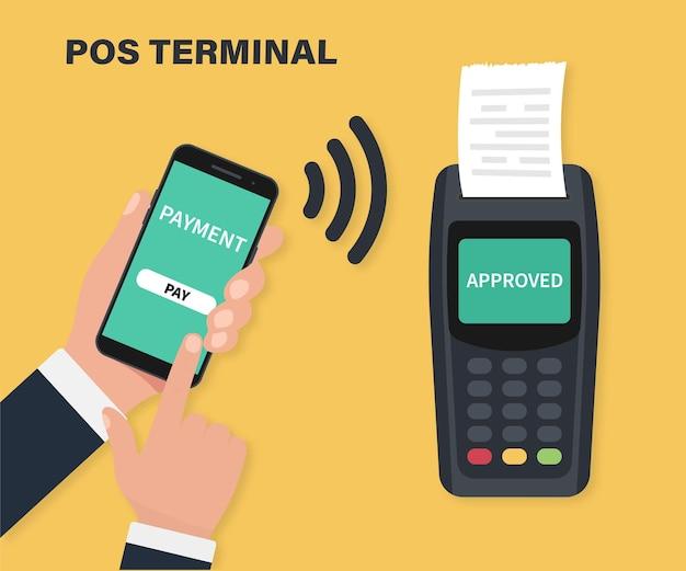 Terminal de pagamento. conceito de pagamentos nfc. terminal pos confirma o pagamento por smartphone. pagamentos móveis usando smartphone, terminal e cartão de crédito, tecnologia de comunicação de campo próximo, banco online