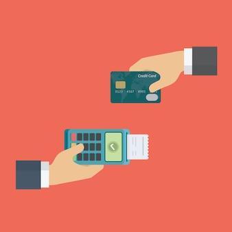 Terminal de pagamento edc e cartão de crédito