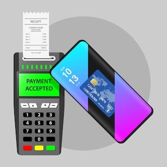 Terminal de pagamento pagamento móvel pos pagamento aceito recibo de transação bem-sucedido sem contato