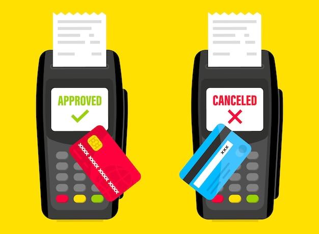 Terminal de pagamento. terminal pos. pagamentos nfc. pagamento por cartão de crédito em terminal pos com cartão de crédito inserido e impressão de recibo. terminal de pagamento. pagamento de transação cancelado ou aprovado