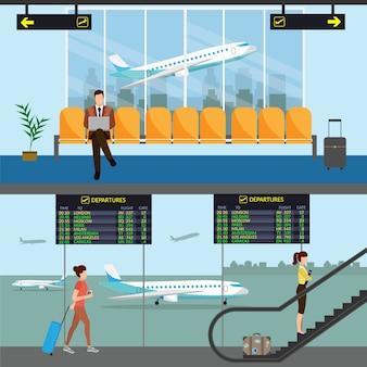 Terminal de passageiros do aeroporto e sala de espera. ilustração de fundo de chegadas e partidas internacionais