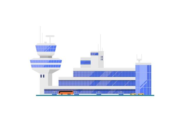 Terminal do aeroporto com torre de controle de vôo