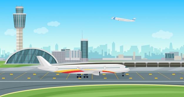 Terminal do aeroporto de construção com aeronaves decolando. paisagem do aeroporto.