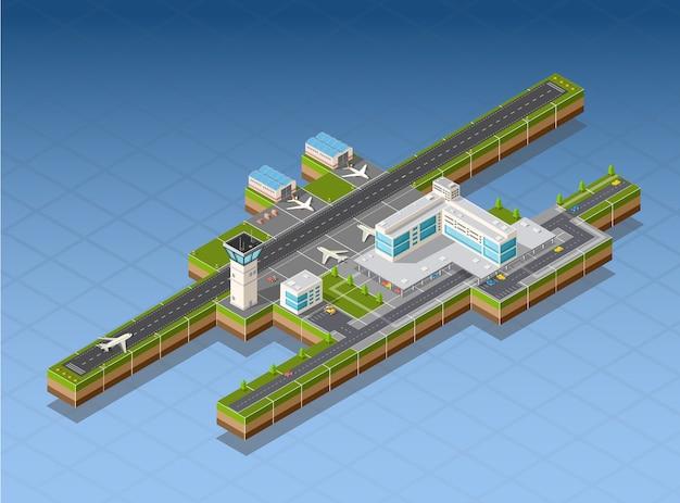 Terminal do aeroporto para a chegada e partida de aeronaves e passageiros que viajam