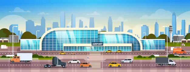Terminal moderno exterior do edifício do aeroporto