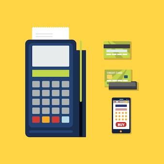 Terminal pos com ícone de cartão de crédito.