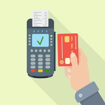 Terminal pos com recibo, fatura. pagamento sem dinheiro com cartão de crédito ou débito. sistema nfc