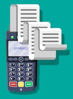 Terminal pos moderno com grande recibo de papel. conceito de compras. dispositivo de pagamento bancário. máquina de teclado nfc de pagamento. leitor de cartão de crédito e débito. ilustração vetorial em estilo simples