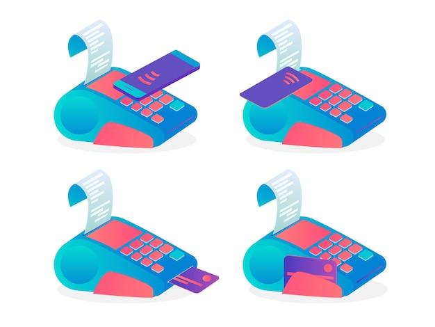 Terminal pos para pagamento por cartão de crédito definido. ideia de banco e compras. dispositivo para cartão de débito ou celular. ilustração em vetor plana
