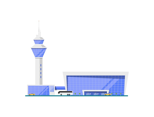 Terminal vítreo do aeroporto com torre de controle de vôo