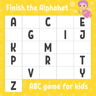 Termine o alfabeto. jogo abc para crianças. planilha de desenvolvimento de educação.