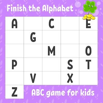 Termine o alfabeto. jogo abc para crianças.