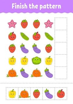 Termine o padrão. cortar e brincar. frutas e vegetais