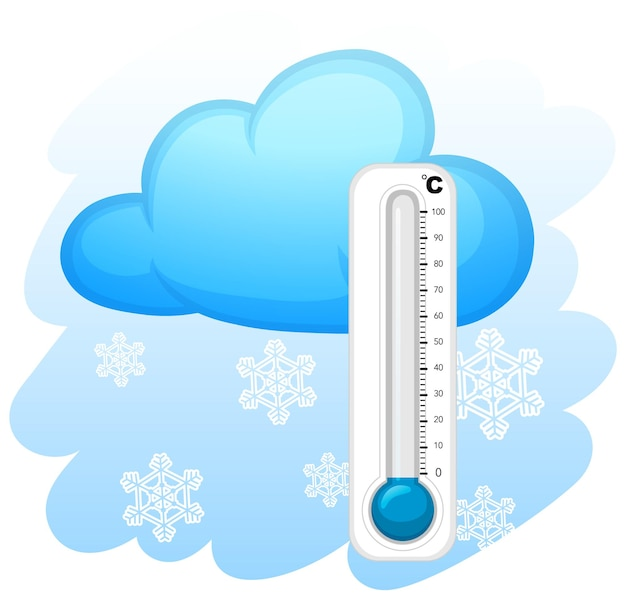 Termômetro com fundo de flocos de neve