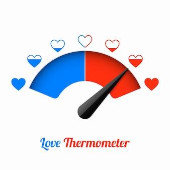 Termômetro de amor, elemento de design de cartão de dia dos namorados