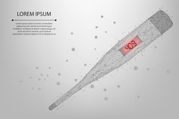 Termômetro de baixo poli com alta temperatura. medição eletrônica do calor corporal. ferramenta médica em busca do covid-19.