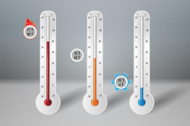 Termômetro de meteorologia com grau alto quente, baixo frio, quente. equipamento de termostato de controle de clima e clima com escala de medição fahrenheit e celsius ilustração em vetor 3d realista