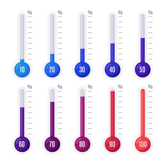 Termômetros com diferentes temperaturas