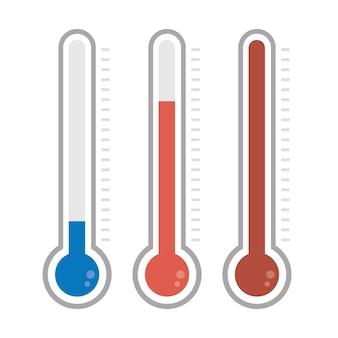 Termômetros isolados em cores diferentes