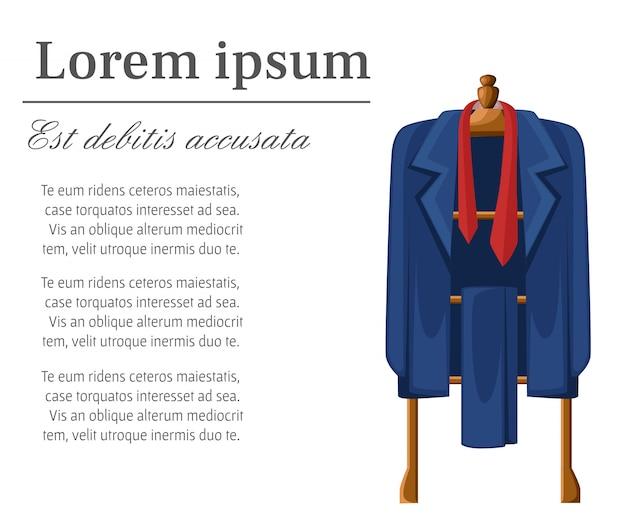 Terno azul de homem com gravata vermelha em ilustração de cabide de madeira com lugar para o seu texto em fundo branco