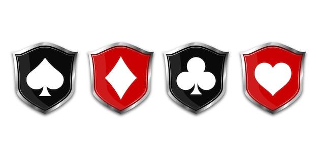 Terno de baralho de cartas no escudo.