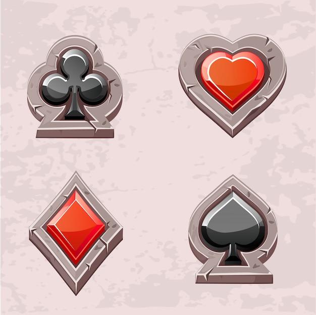 Terno de cartão, textura de pedra de ícones de pôquer