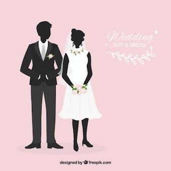 Terno do casamento e da noiva silhuetas vestido