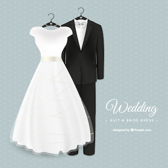 Terno do casamento glamoroso e vestido de noiva